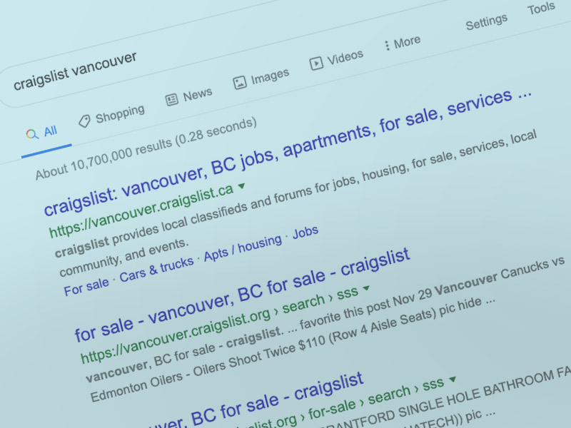 """Craigslist Vancouver' is Googled over 800,000 Times Per Month!"